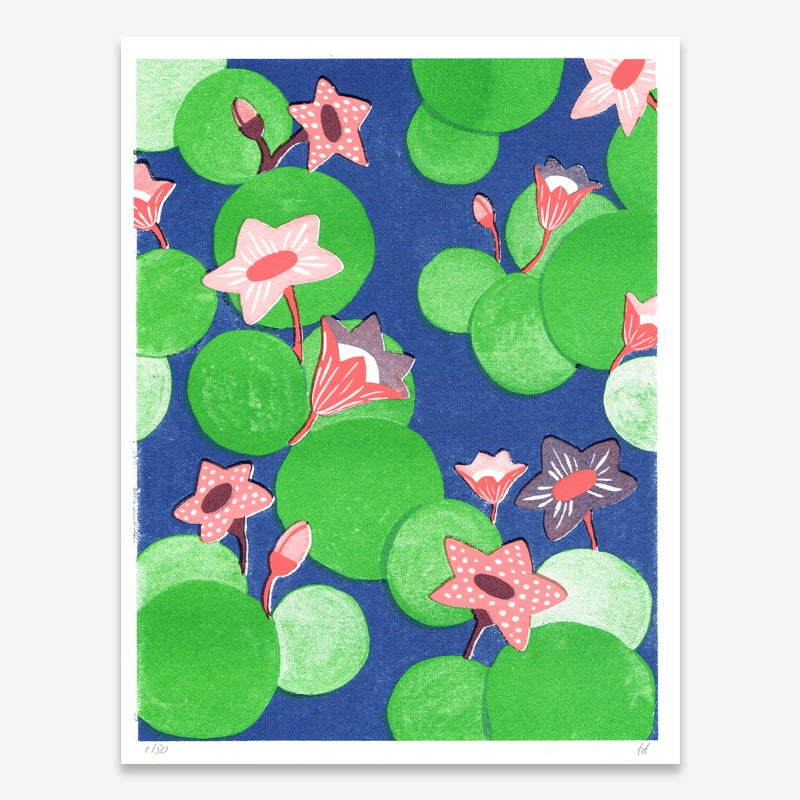 Image of Water Lilies // Risograph Print