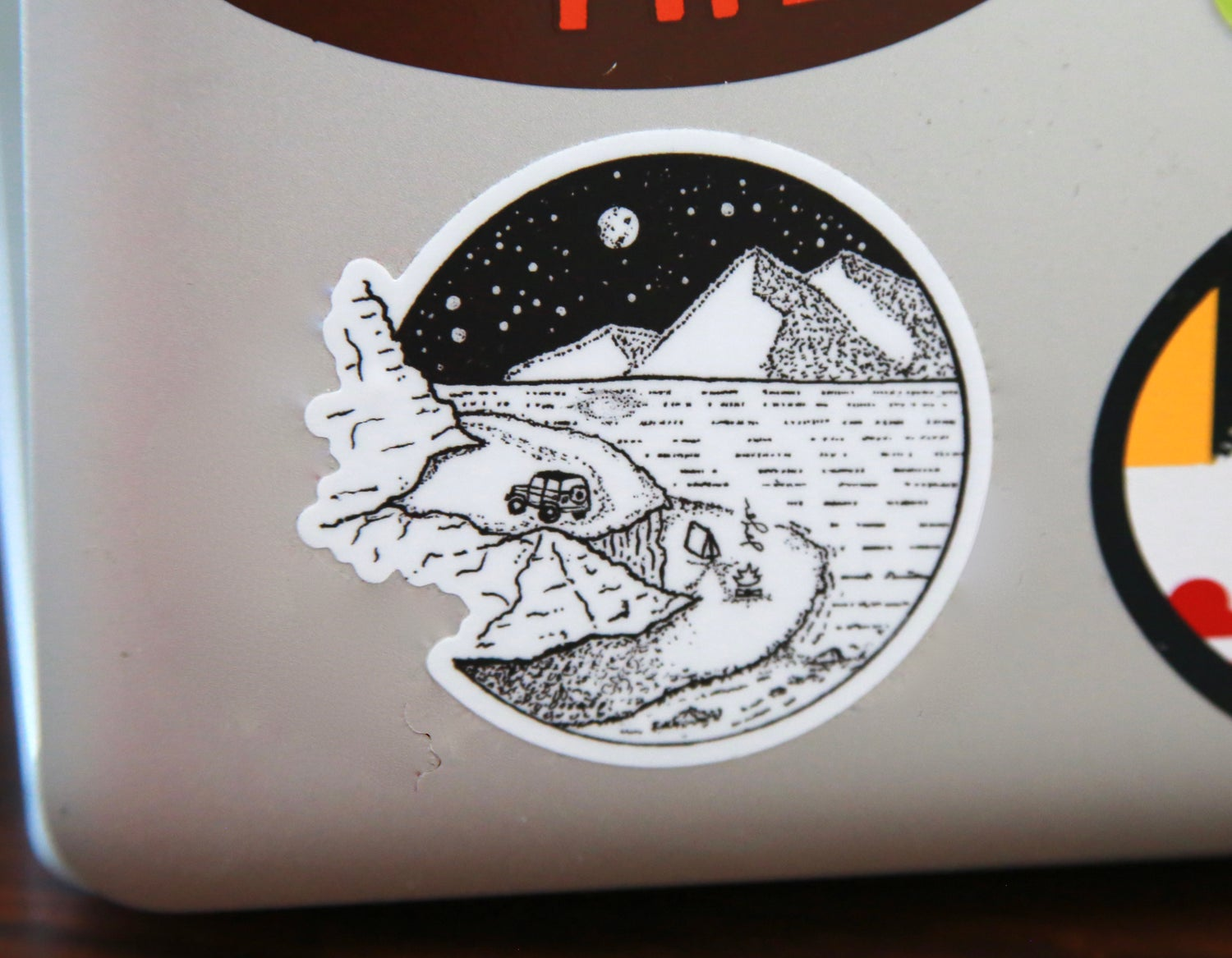 Image of Camping by the Mountain Lake Sticker