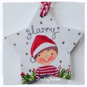 Image of Personalised Christmas Star Portrait Decoration