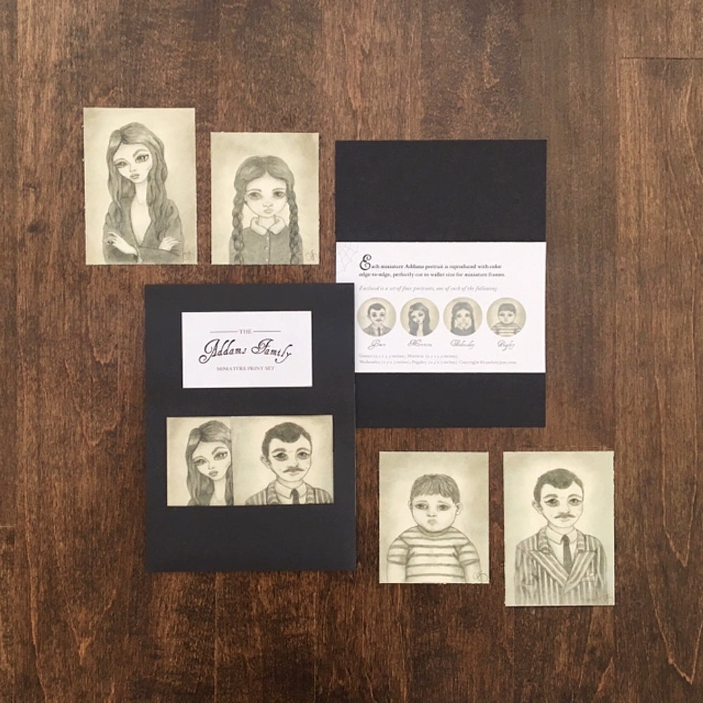 Image of RETIRED: Addams Family Miniature Print Set Reissue