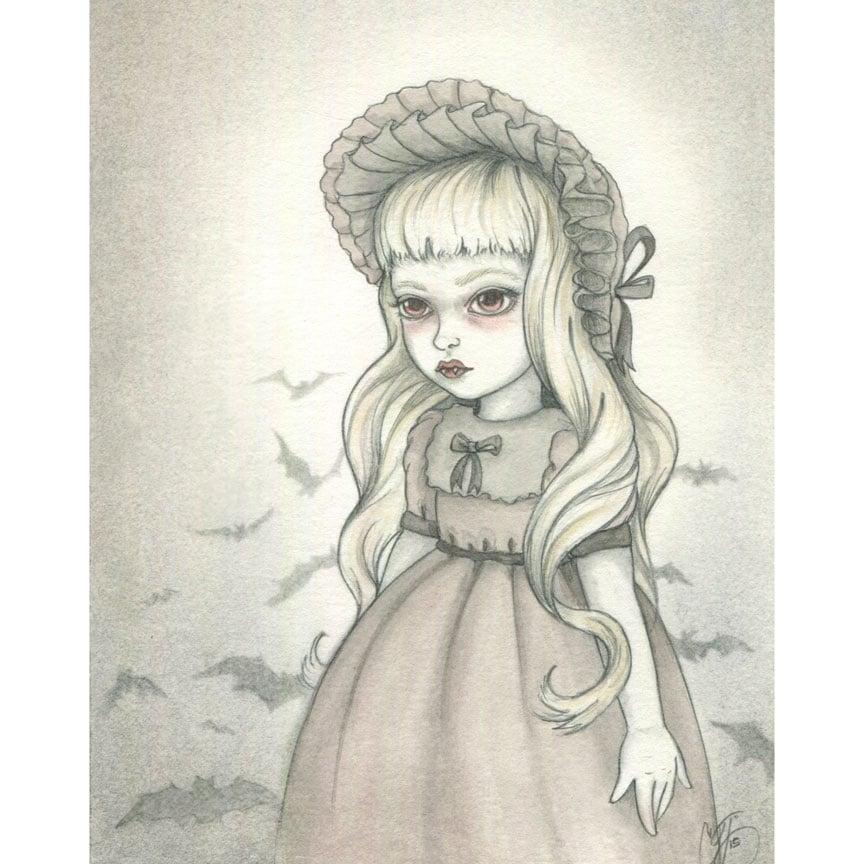 Image of Little Vampire Girl 4x6 print
