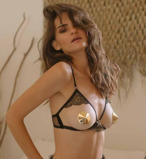Image of Abeille Black satin and gold lace peek a Boo bra