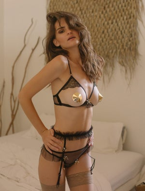 Image of Abeille 'Bee' Black ruffled illusion mesh Thong