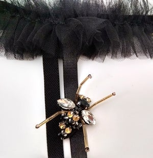 Image of Abeille 'Bee' Black Ruffled silk Tulle garter Belt