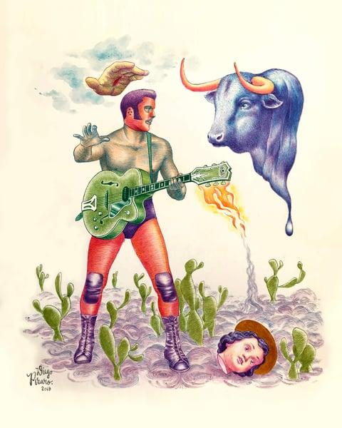Image of Blue Suede Bull (Toro de Gamuza Azul) Print