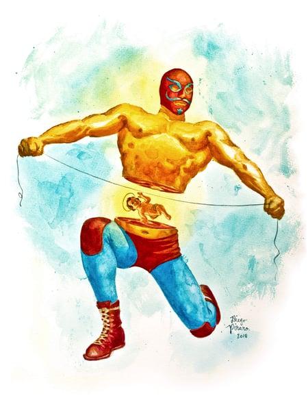 Image of Luchador Mitad(Halved Wrestler) Print