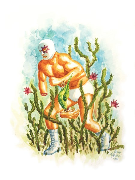 Image of Luchador y el Lorro (Wrestler and the Parrot) Print