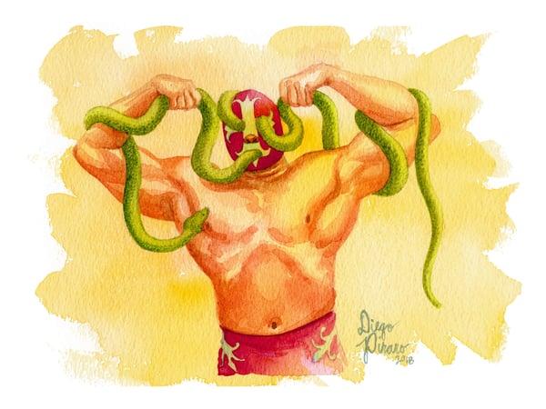 Image of Luchador de Serpientes (Snake Wrestler) Print