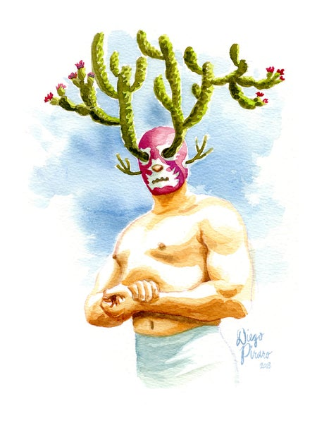 Image of Luchador en Flor (Wrestler in Bloom) Print
