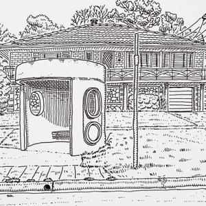 Image of Original Drawing of Caley Crescent, Narrabundah bus shelter