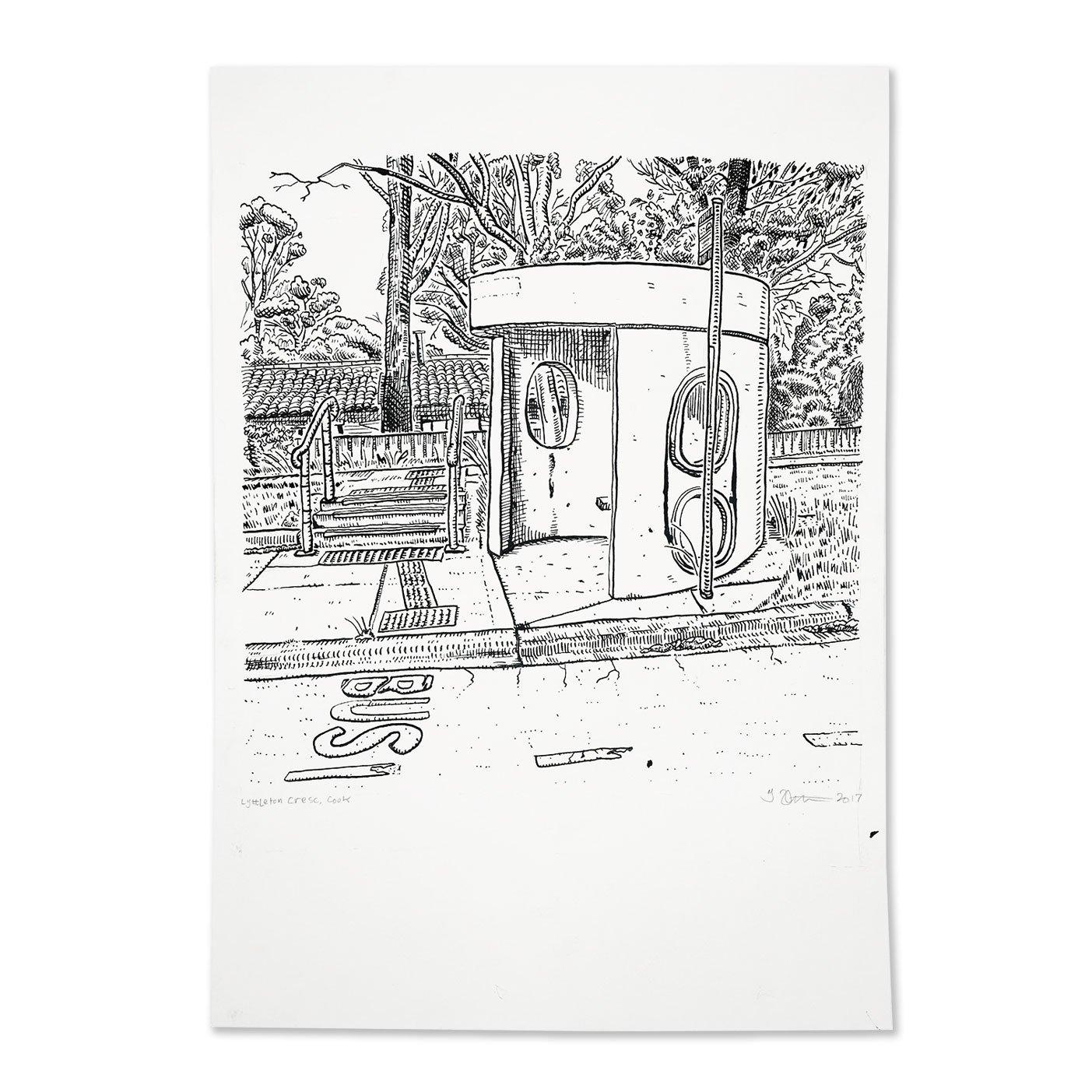 Image of Original Drawing of Cook, Lyttleton Crescent bus shelter