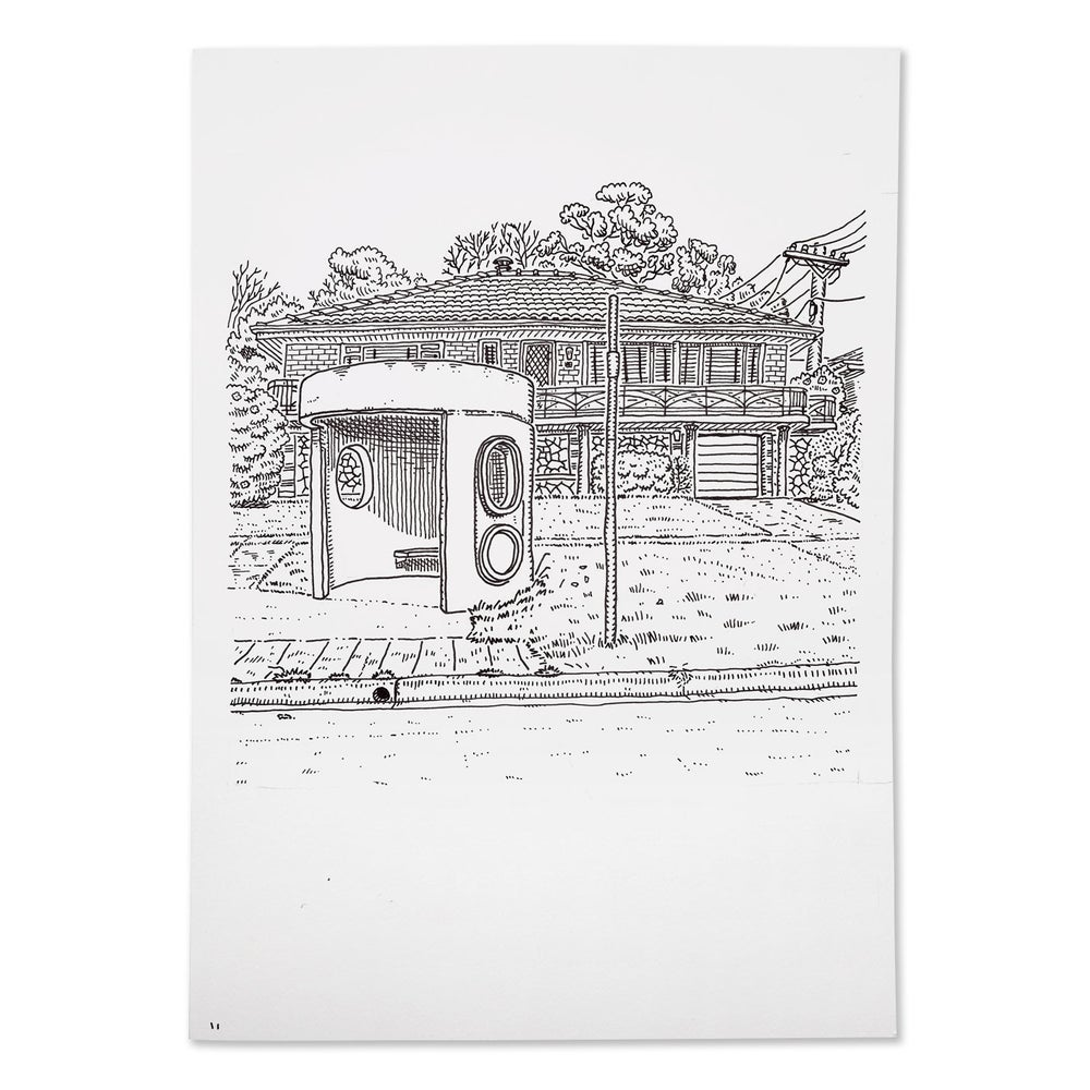 Image of Original Drawing of Caley Crescent, Narrabundah bus shelter