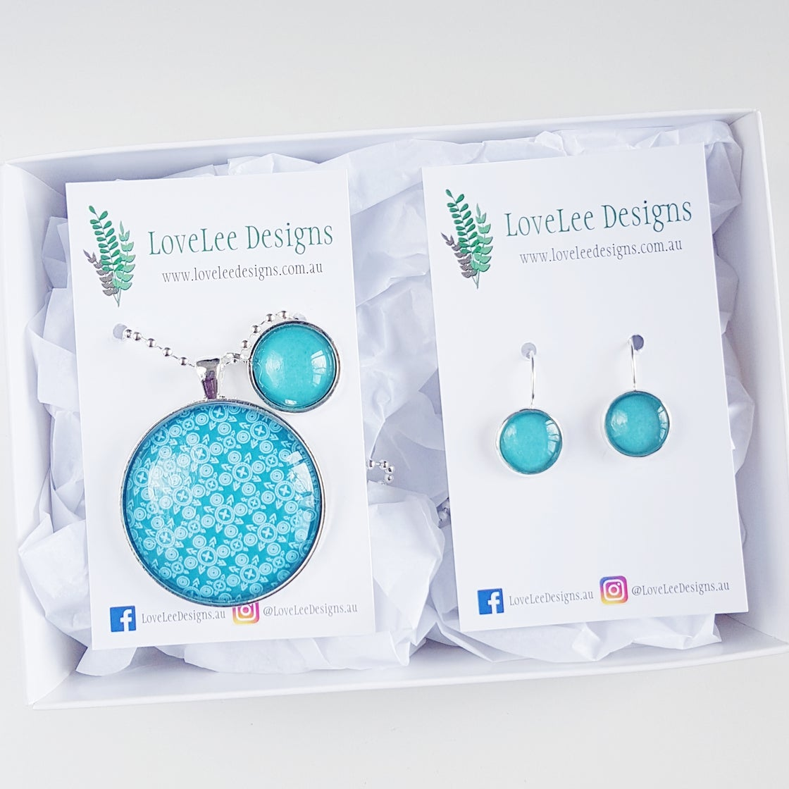 Image of NEW! Gift Set - Abstract Teal Lines