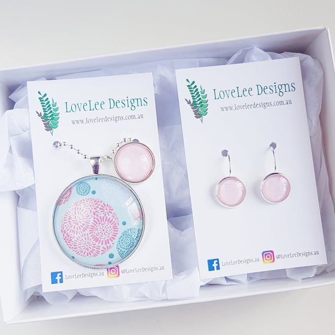 Image of NEW! Gift Set - Pink & Teal Circles