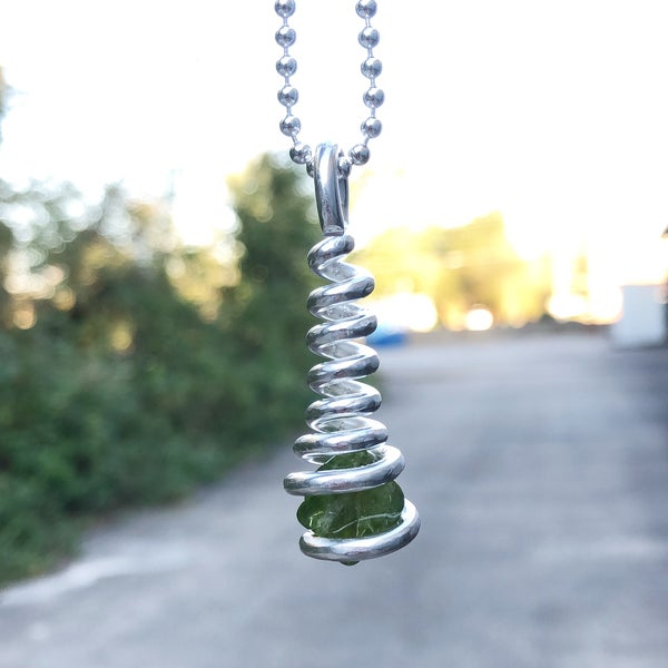 Image of Pure Silver Wrapped Peridot