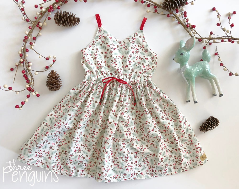 Image of Mint Pine & Red Berry Dress- Size 6/7