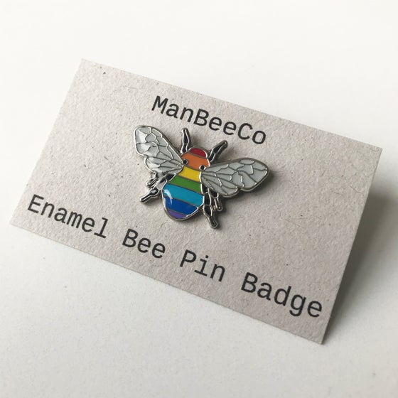 Image of RAINBOW BEE ENAMEL PIN BADGE