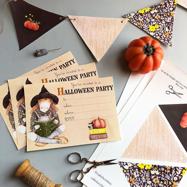 "Image of ""Halloween party"" invitation + bunting digital download"