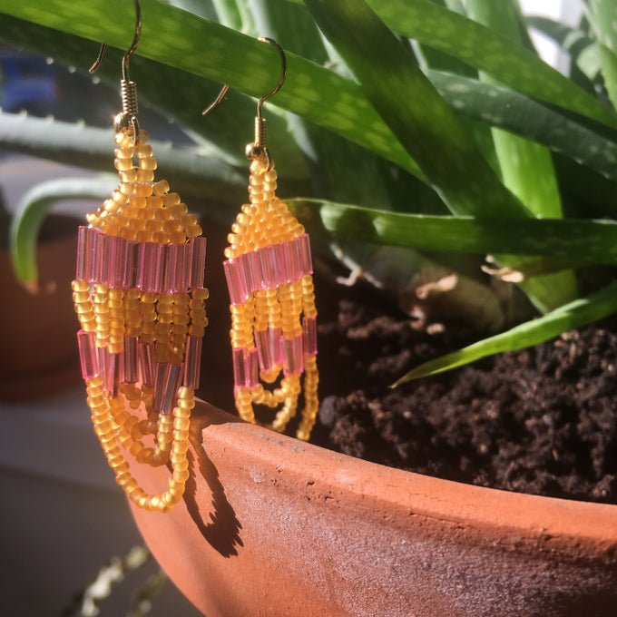 Image of translucent pink & yellow beaded earrings