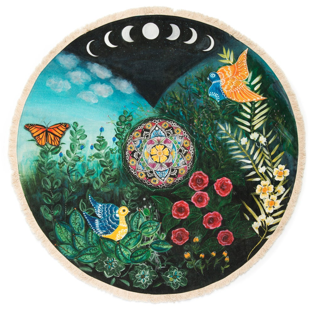 """Image of """"Love and compassion""""- Mexican Moon Textile Meditation Mat with fringe"""