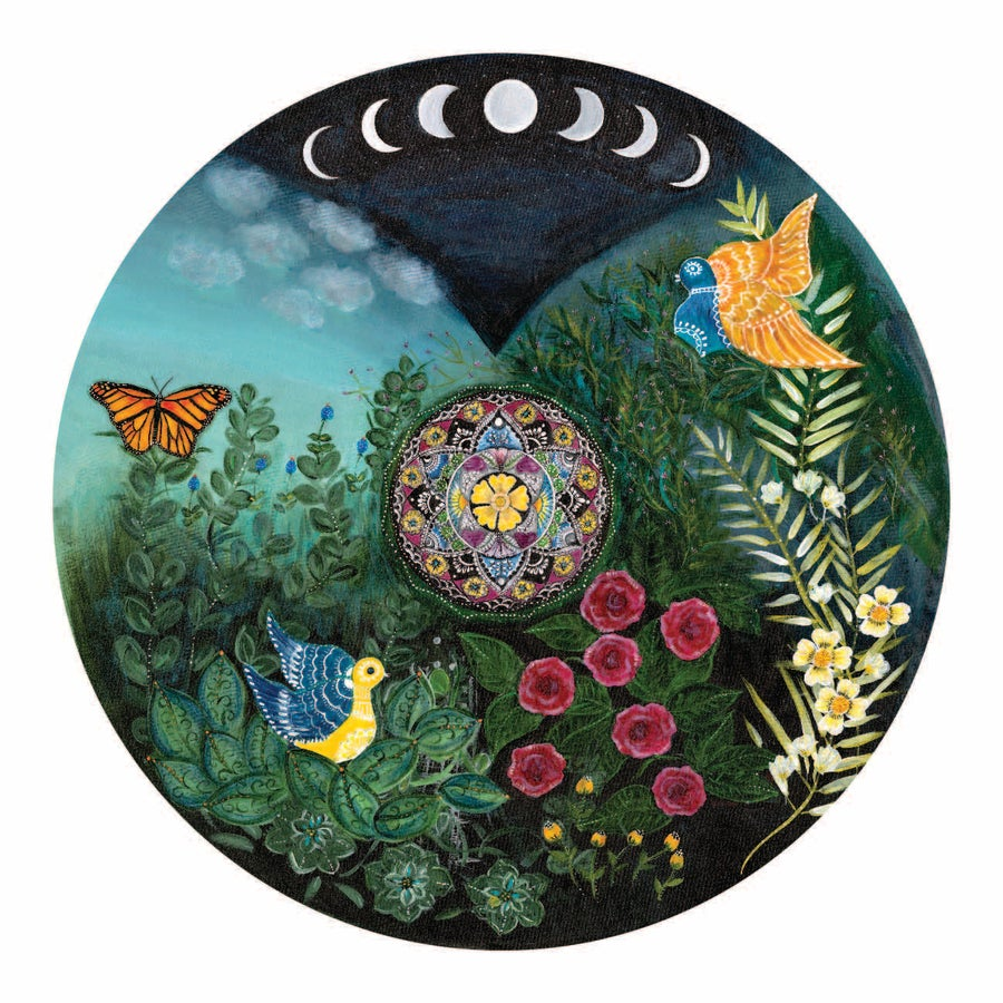 "Image of ""Love and compassion"" - Mexican moon meditation mat (Giclee art print)"