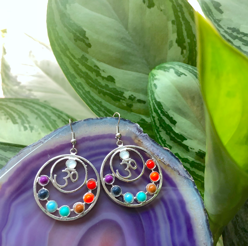 Image of Ohm 7 Chakra Gem Earrings
