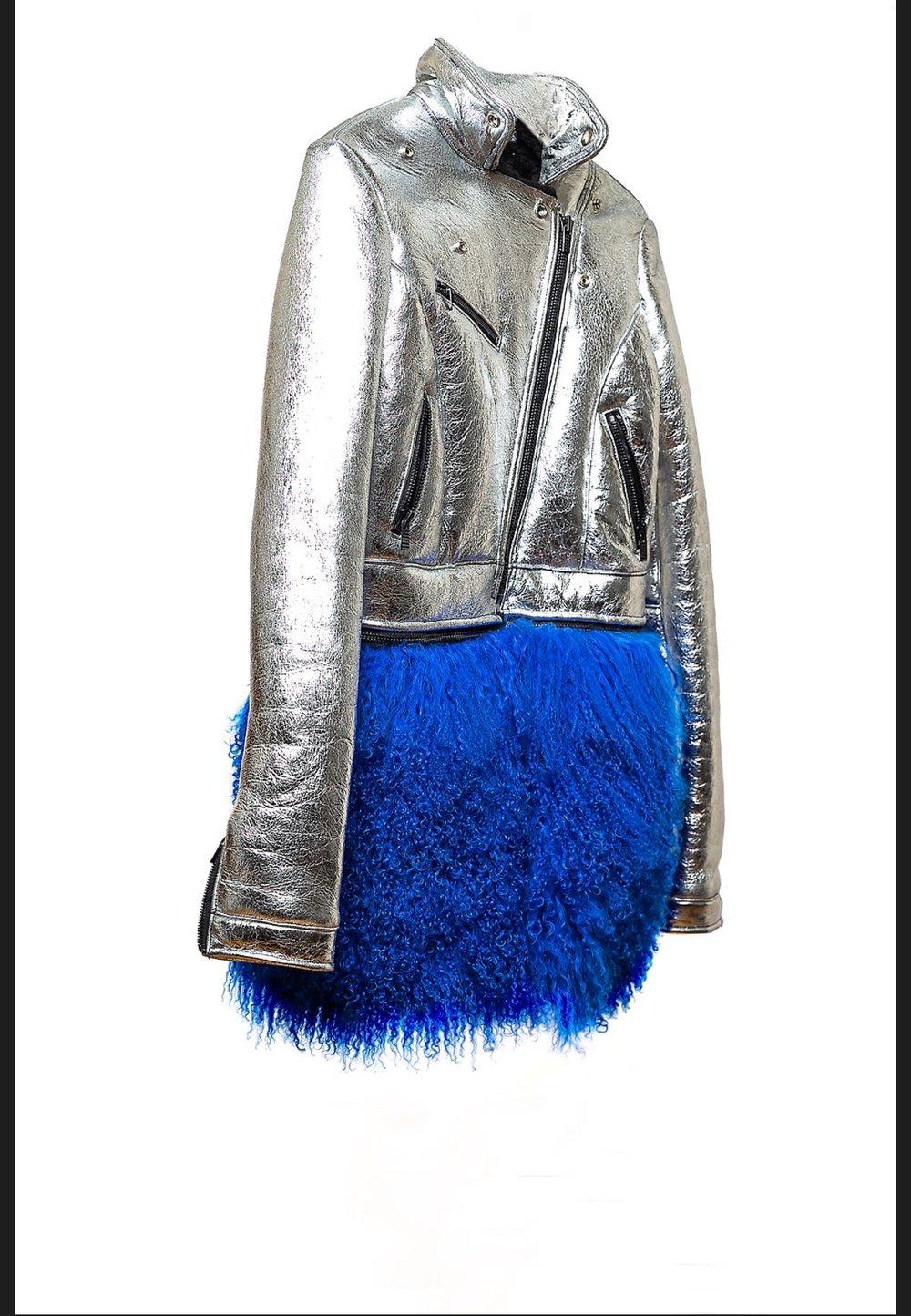 Image of Silver Foil Shearling Biker Jacket w/Mongolian Fur