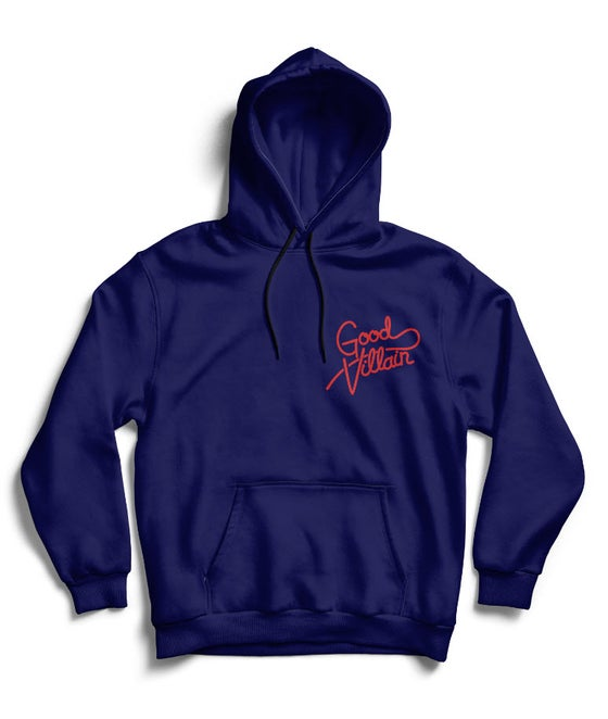Image of GOOD VILLAIN SCRIPT LOGO HOODIE (BL/RED)