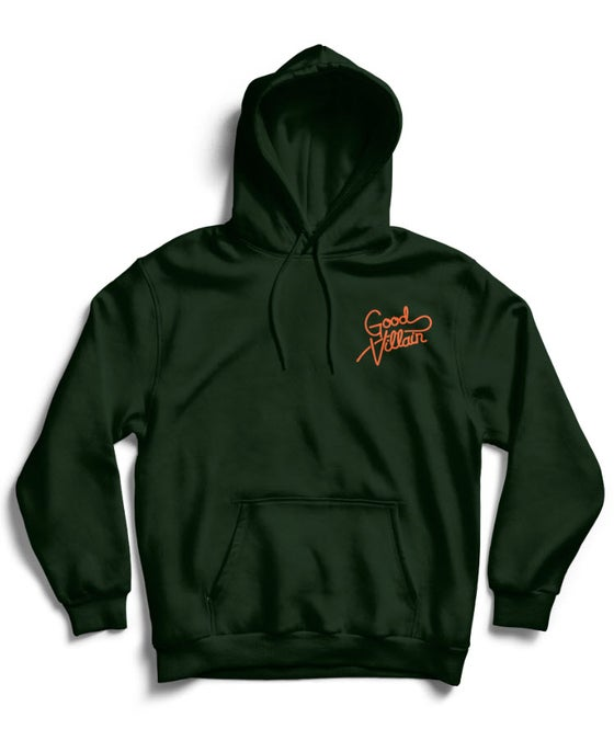 Image of GOOD VILLAIN SCRIPT LOGO HOODIE (GRN/ORANGE)