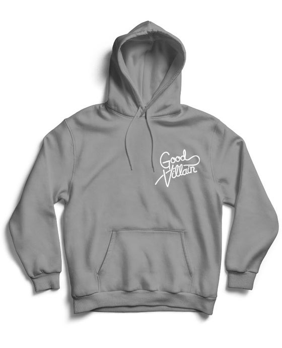 Image of GOOD VILLAIN SCRIPT LOGO HOODIE (GRY/WHITE)