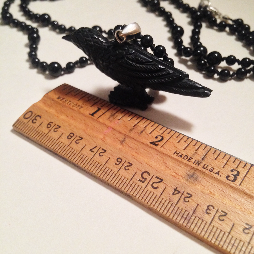 Image of The Tower Opera Length Hand Knotted Black Onyx Gemstone Carved Raven Necklace | Witch Tarot Jewelry