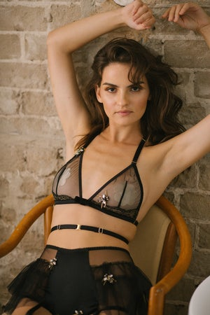 Image of Abeille 'Bee' Illusion mesh criss cross Triangle bra