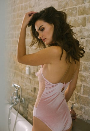 Image of Phyllis Powder Pink velvet Lace bodysuit
