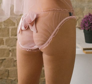 Image of PHYLLIS Powder Pink Butterfly Scrunchie Bow knicker