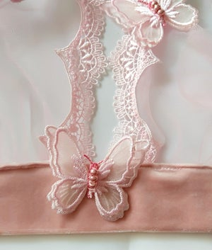 Image of Phyllis Powder pink Butterfly Grecian Tulle Bra