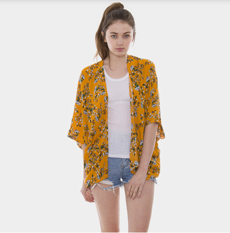 Image of Yellow Floral Poncho