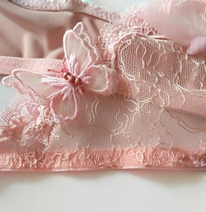 Image of Phyllis Powder pink Butterfly Lace cross Tulle Bra