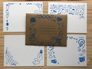 Image of Stationary Set with Printed Kraft Envelope - Fluo Pink or Corneflower Blue