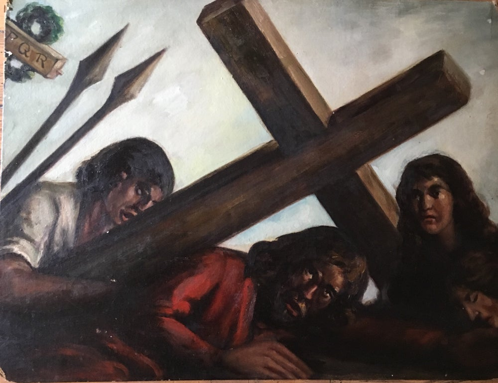 Image of 1920s Crucifixion Scene Oil on Board 18 x 24""