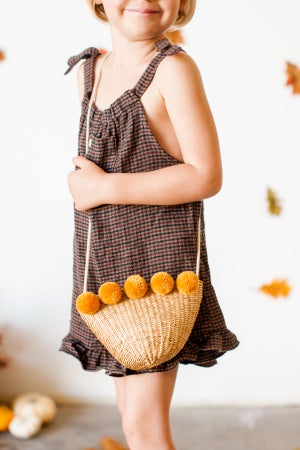 Image of Straw purse with Fall colored poms