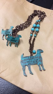 """Image of Turquoise  'Love showin"""" goat necklace"""