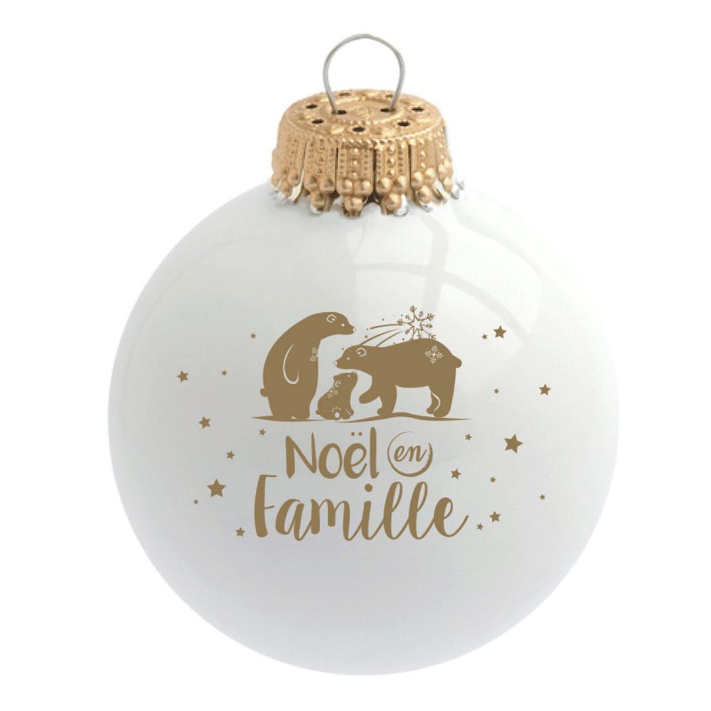 """Image of Boule de Noël personnalisée """"Noël en Famille"""""""