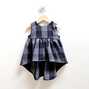 Image of Smoke Plaid Bustle Top