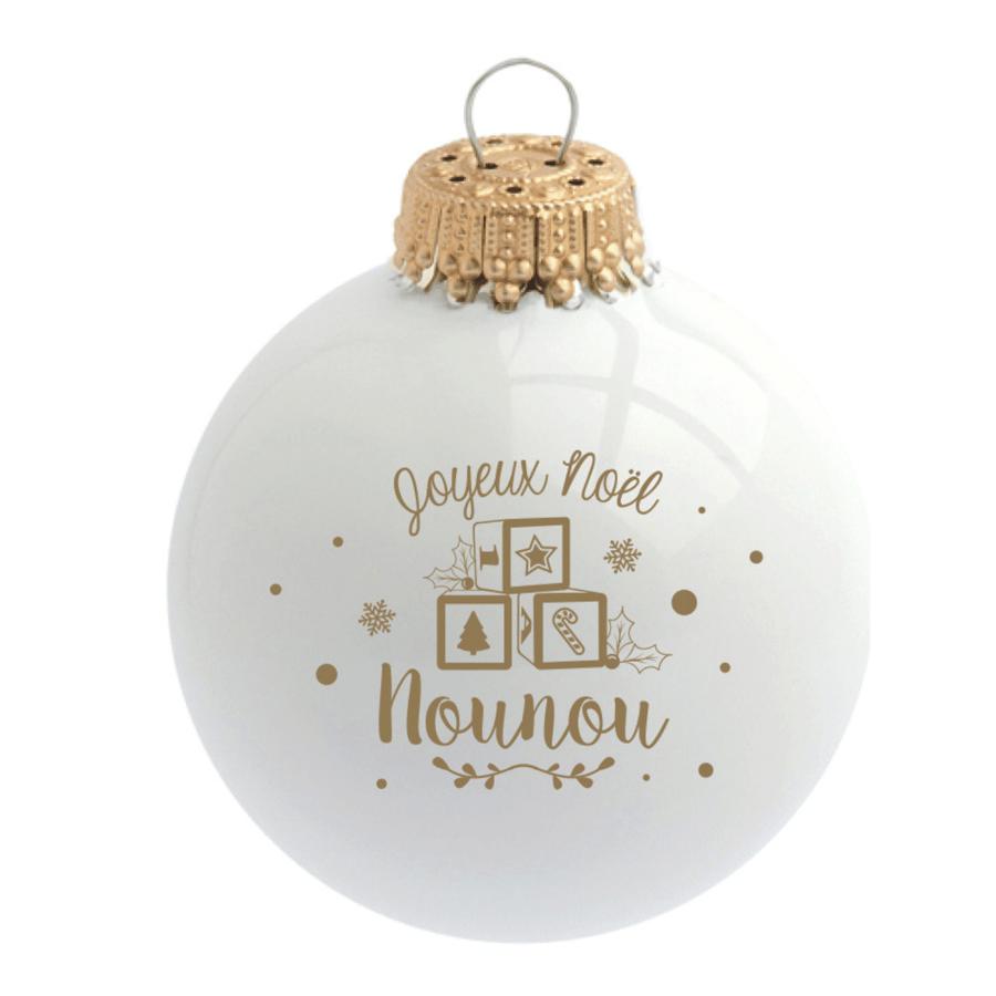 """Image of Boule de Noël personnalisée """"Joyeux Noël Nounou"""""""
