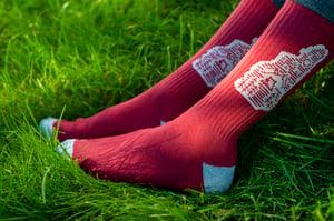 Image of Maroon Camping Logo Socks