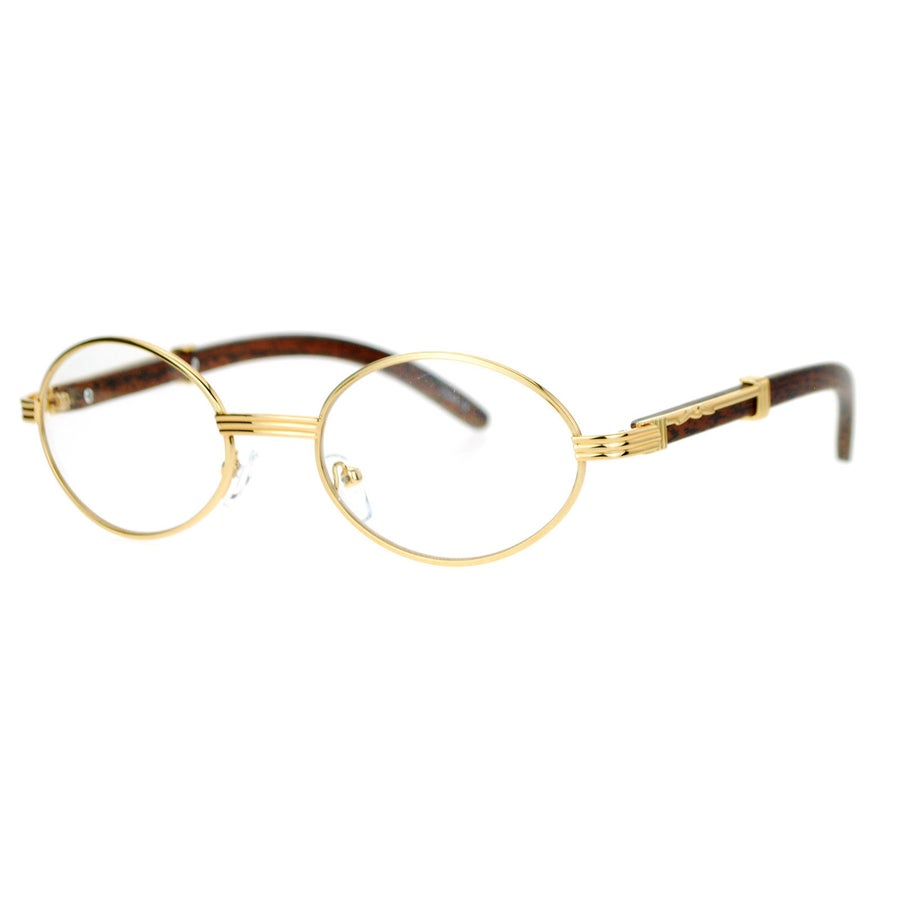 Image of Vintage Wood Buffs Clear Eye Glasses