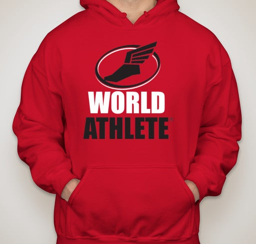 Image of World Athlete Hoodie Sweatshirt - Red