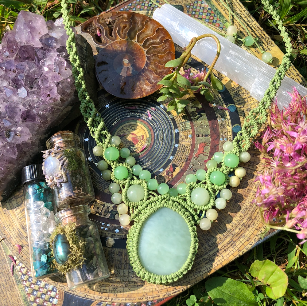 Image of Heart Healing Macrame Amulet // Green Aventurine, Jade + Green Onyx Necklace