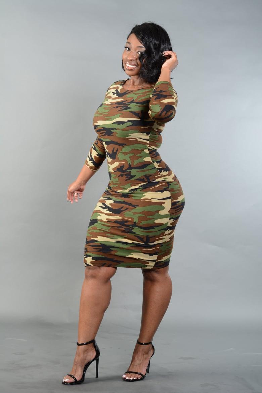 Image of Camo Bodycon Midi Dress(Green or Red)
