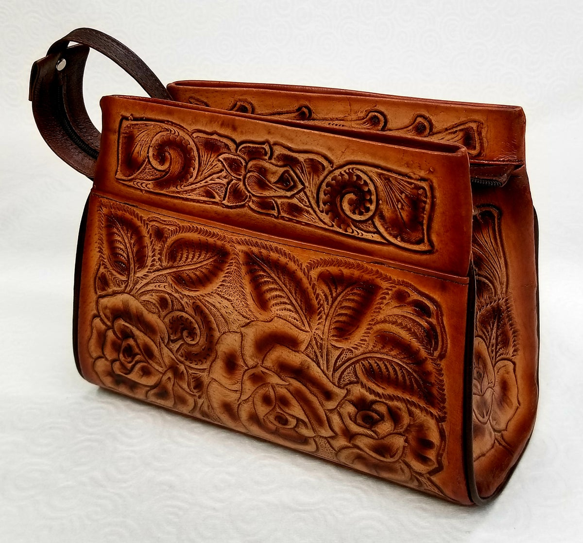 Image of Brown Colored Hand-Tooled Leather Triple Zipper Bag